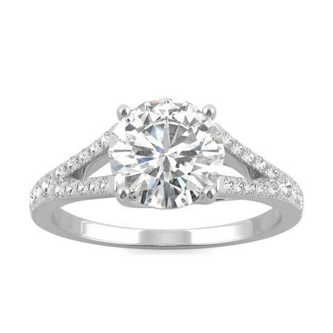 Charles & Colvard 14-karat White Gold Moissanite 2 1/3ct DEW Split Shank Engagement Ring