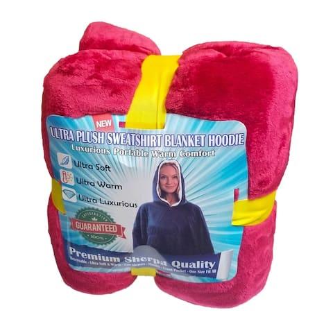 2 Comfy Hoodie Sherpa - Oversized Blanket Sweatshirt - Hooded, Large Pocket, Reversible - Warm and Luxurious Plush