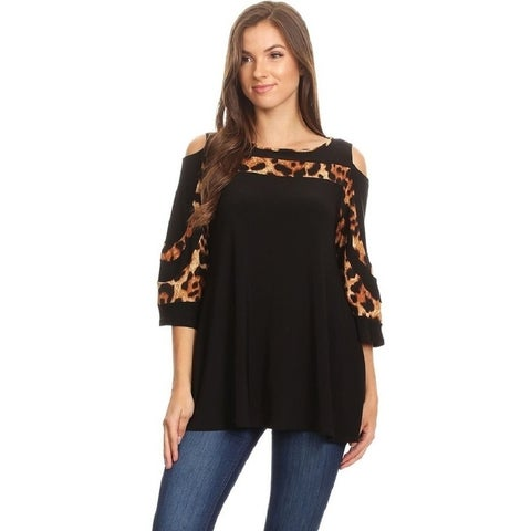 High Secret Women's Block Color Cold Shoulder Blouse with Pockets