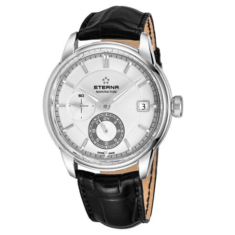 Eterna Men's 7661.41.66.1324 'Adventic' Silver Dial Black Leather Strap GMT Automatic Swiss Made Watch