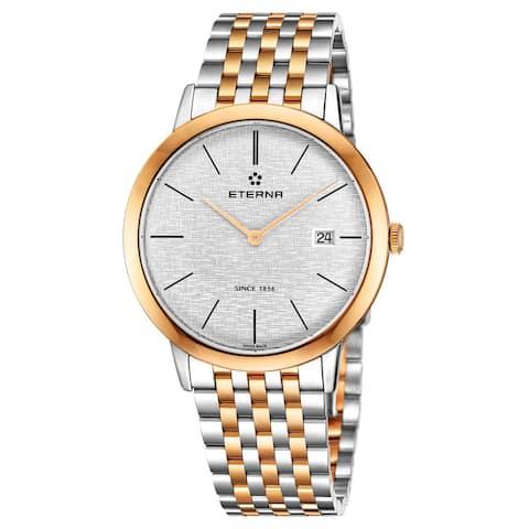 Eterna Men's 2710.53.10.1737 'Eternity' Silver Dial Stainless Steel Two Tone Swiss Quartz Watch