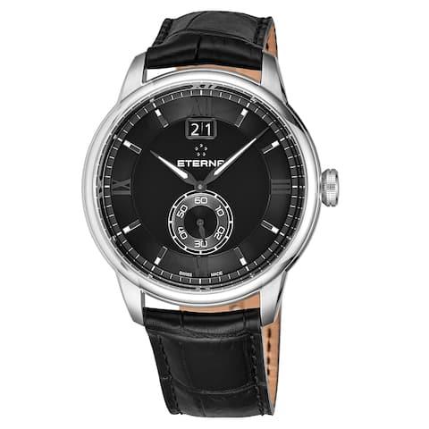 Eterna Men's 2971.41.46.1327 'Adventic' Black Dial Black Leather Strap Big Date Quartz Swiss Made Watch