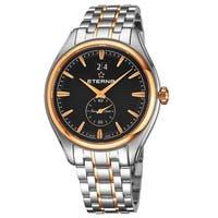 Eterna Men's 2545.53.41.1714 'Avant-Garde' Black Dial Two Tone Stainless Steel Small Seconds Quartz Swiss Made Watch
