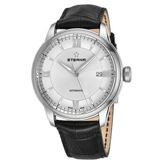 Eterna Men's 2970.41.62.1326 'Adventic' Silver Dial Grey Leather Strap Automatic Swiss Made Watch