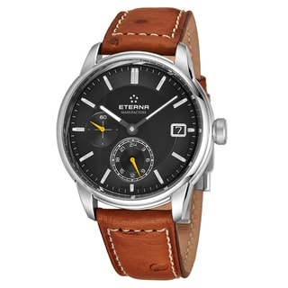 Eterna Men's 7661.41.56.1352 'Adventic' Grey Dial Brown Leather Strap GMT Automatic Watch