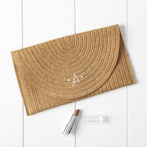 Personalized Straw Envelope Clutch