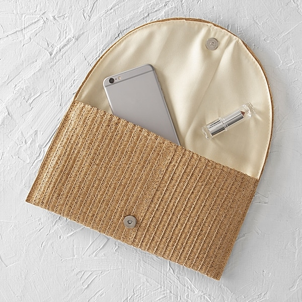Cathys Concepts Personalized Straw Envelope Clutch