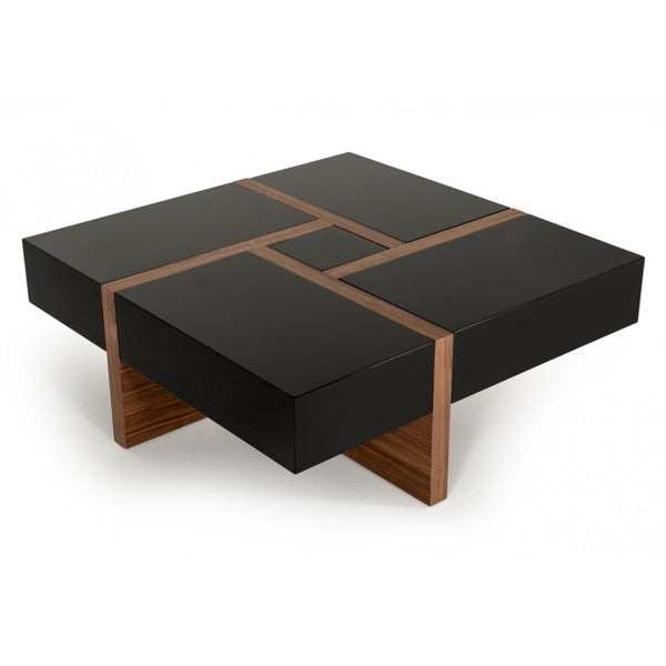 Modern Black Coffee Table For Sale: Shop Modrest Makai Modern Black & Walnut Coffee Table