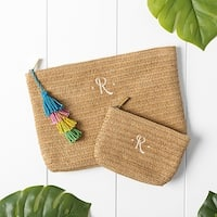 Personalized Straw Clutch Set with Tassel