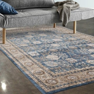 """Allstar Rugs Blue and Beige Persian Rectangular Accent Area Rug with Ivory Highlights - 4' 11"""" x 7' 0"""""""