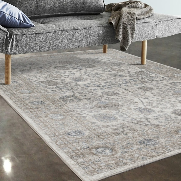 "Allstar Rugs Ivory and Beige Persian Rectangular Accent Area Rug with Turquoise Highlights - 7' 5"" x 9' 8"""