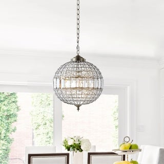 """Link to Georgina 16"""" Crystal/Metal LED Chandelier Pendant, Antique Brass by JONATHAN  Y (As Is Item) Similar Items in As Is"""