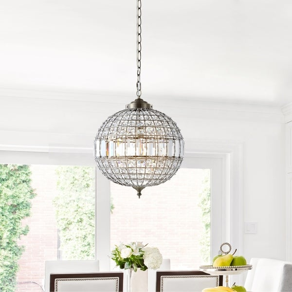 "Georgina 16"" Crystal/Metal LED Chandelier Pendant, Antique Brass by JONATHAN Y (As Is Item). Opens flyout."