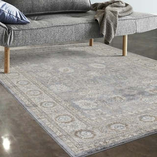 """Allstar Rugs Grey and Beige Persian Rectangular Area Rug with Turquoise Highlights - 4' 11"""" x 7' 0"""""""