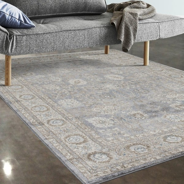"Allstar Rugs Grey and Beige Persian Rectangular Area Rug with Turquoise Highlights - 4' 11"" x 7' 0"""