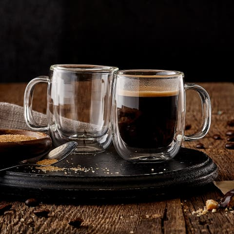 Insulated Double Wall Mug Cup Glass-Set of 4 Mugs/Cups Thermal,80ml
