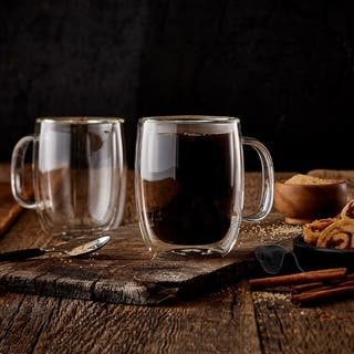 Insulated Double Wall Mug Cup Glass-Set of 4 Mugs/Cups Thermal,350ml