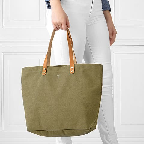 Personalized Light Green Washed Canvas Tote