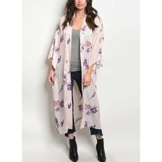 JED Women's Silky Floral Long Kimono Top