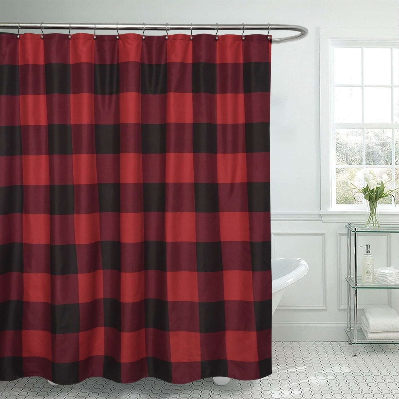 Shop Buffalo Check Fabric Shower Curtain 72 X72 Burgundy Black Overstock 26440430