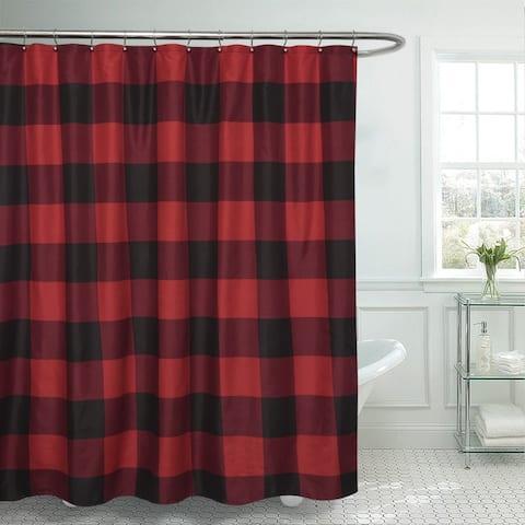 "Buffalo Check Fabric Shower Curtain (72""x72"") Burgundy/Black"