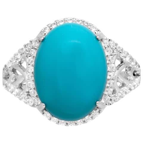 Lab Made Turquoise with CZ Side Stones Infinity Fashion Ring - Silver