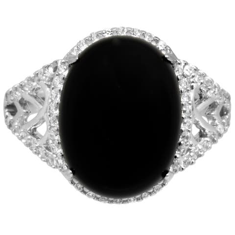 Lab Made Onyx with CZ Side Stones Infinity Fashion Ring - Silver