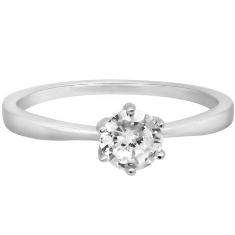 Cubic Zirconia Solitaire Silver Ring