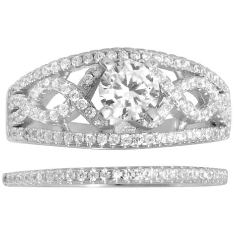 Bridal Set Engagement Cubic Zirconia Silver Ring
