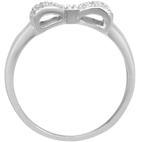 Ribbon Design Cubic Zirconia Stones Pave Anniversary Ring - Silver
