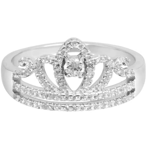 Crown Ring in CZ pave Setting Silver Anniversary Ring