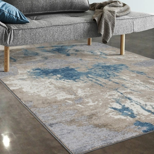 """Allstar Rugs Off Beige and Ivory Abstract Rectangular Area Rug with Turquoise Highlights - 4' 11"""" x 7' 0"""""""