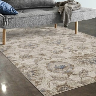 "Allstar Rugs Ivory and Beige Floral Rectangular Area Rug with Turquoise Highlights - 7' 5"" x 9' 8"""