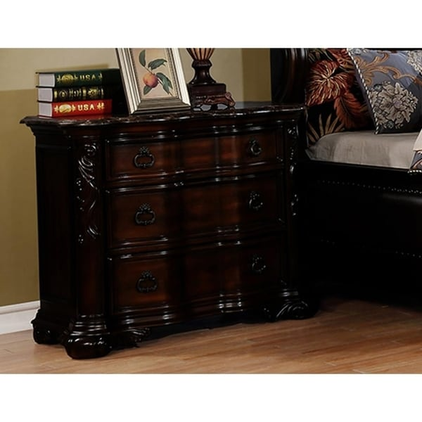 Best Master Furniture 3-drawer Walnut Nightstand