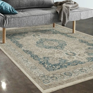 "Allstar Rugs Ivory and Beige Persian Rectangular Area Rug with Turquoise Highlights - 7' 5"" x 9' 8"""
