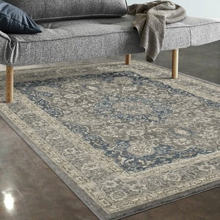 "Allstar Rugs Ivory and Grey Persian Rectangular Area Rug with Turquoise Highlights - 7' 5"" x 9' 8"""