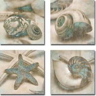 Coastal Gems I, II, III, & IV by John Seba 4-piece Gallery Wrapped Canvas Giclee Art Set (Ready to Hang)