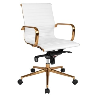 Sleek White Ribbed Leather with Rose Gold Metal Base Swivel Adjustable Office Chair