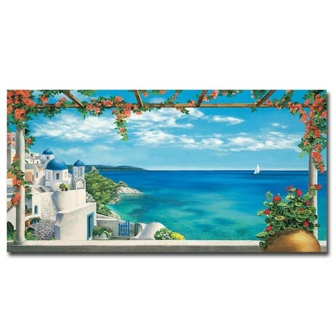 Village in Greece by Robert Dominguez Gallery Wrapped Canvas Giclee Art (18 in x 36 in, Ready to Hang)