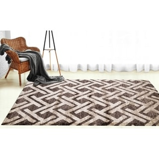 Silky Smooth Shaggy Interlocking Chevron Shag Area Rug