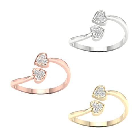 1/20ct TDW Diamond Cpmposite Hearts Ring in 10k Gold by De Couer