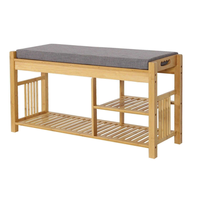"""26/"""" Wooden Shoe Boot Storage Organizer Rack Shelf Front Door Bench Chair Seat"""