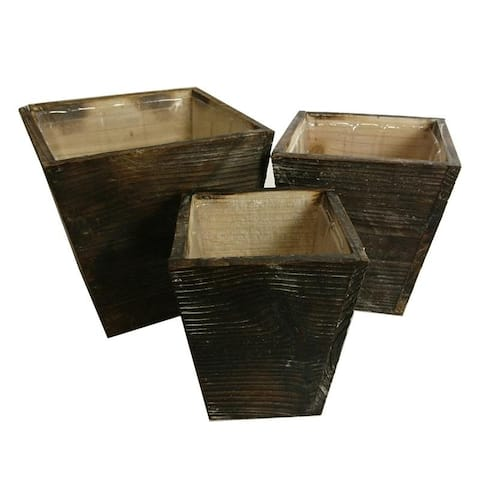 Set of 3 Contemporary square wood pot planter with liner