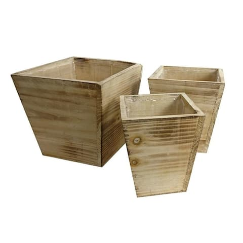 Set of 3 Contemporary square wood pot/planter with liner