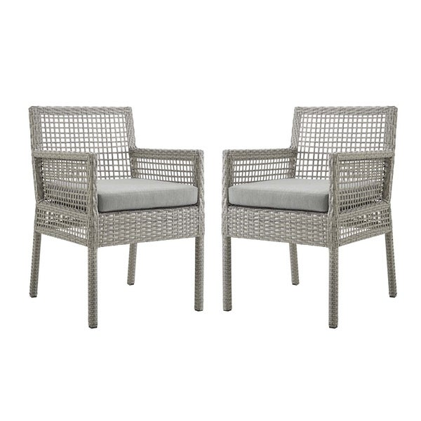 Havenside Home Golovin Dining Armchair Patio Wicker Rattan Set of 2