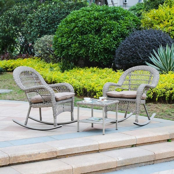 Fantastic Shop 3Pc Resin Wicker Rocker Chair With Cushion And End Inzonedesignstudio Interior Chair Design Inzonedesignstudiocom