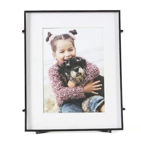 "Barin 57 Black Square Rod Photo Frame 5""X7"" ( 8""X10"" Matted )"