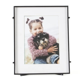 """Barin 57 Black Square Rod Photo Frame 5""""X7"""" ( 8""""X10"""" Matted )"""