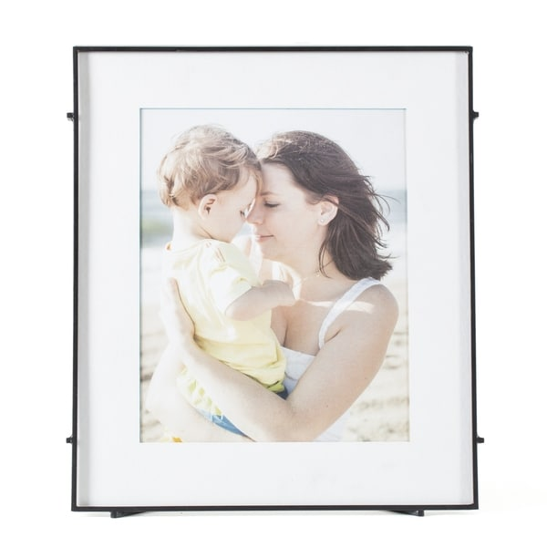 """Barin 80 Black Square Rod Photo Frame 8""""X10"""" ( 12""""X14"""" Matted )"""