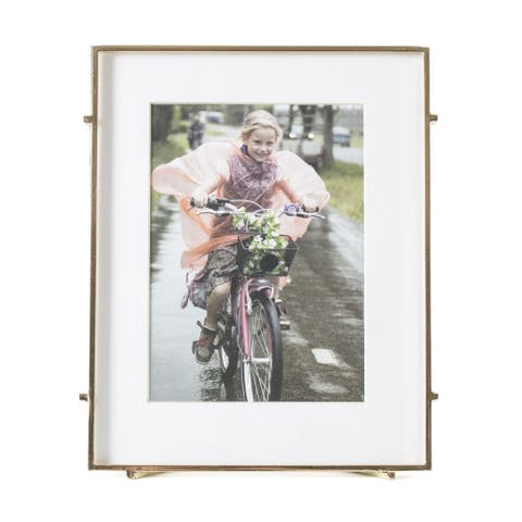 """Barin 57 Gold Square Rod Photo Frame 5""""X7"""" ( 8""""X10"""" Matted )"""